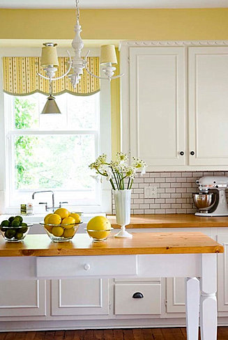 Yellow walls in kitchen